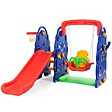Costzon Toddler Climber and Swing Set, 4 in 1 Climber Slide Playset w/Basketball Hoop, Toss, Easy...