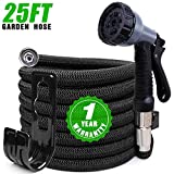 Expandable Garden Hose 25ft, Kink Free Water Hose with 10 Functions Nozzle, Flexible Hose Outdoor...