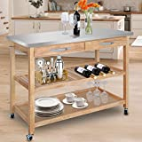SUPER DEAL Zenchef Rolling Kitchen Island Utility Kitchen Serving Cart w/Stainless Steel Countertop,...