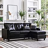 HONBAY Convertible Sectional Sofa Couch Leather L-Shape Couch with Modern Faux Leather Sectional for...