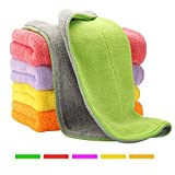 5 Extra Thick Microfiber Cleaning Cloths with 5 Bright Colors, Super Absorbent Dust Cloths Buffing...