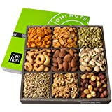 Oh! Nuts Holiday Nuts Gift Basket, 9 Variety Mixed Nut Assortment Wood Tray Baskets, Gourmet...