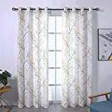 Print Yellow Grey and White Curtains for Living Room Windows - Linen Textured Grommet Tree Branches...