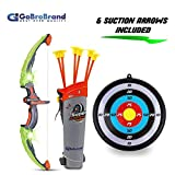 GoBroBrand Bow Arrow Set Kids -Green Light Up Archery Toy Set -Includes 6 Suction Cup Arrows, Target...