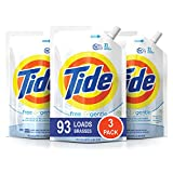 Tide Free and Gentle HE Laundry Detergent, 3 Pack of 48 oz. Pouches, Unscented and Hypoallergenic...