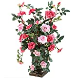 GTIDEA European Royal Style Design Artificial Potted Flowers Realistic Silk Rose Arrangements for...