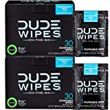 DUDE Wipes Flushable Wet Wipes (2 Packs, 30 Wipes Each) Individually Wrapped for Travel, Unscented...