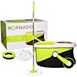 Mopnado Stainless Steel Deluxe Rolling Spin Mop with 2 Microfiber Mop Heads - Lime