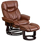 Flash Furniture Contemporary Brown Vintage Leather Recliner and Ottoman with Swiveling Mahogany Wood...