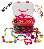 Pop Beads,Girls Toy Age 4,5,6,7 and 8|Jewelry Making Kit-530 Plus Pieces|DIY Snap Together...