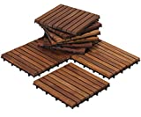 Bare Decor EZ-Floor Interlocking Flooring Tiles in Solid Teak Wood Oiled Finish (Set of 10), Long 9...