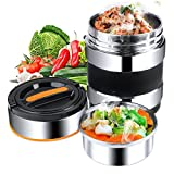 Elfhao Vacuum Insulated Stainless Steel Lunch Box Food Carrier Stainless Steel Bento Box Thermal...
