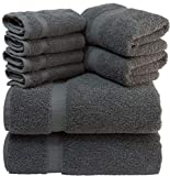 White Classic Luxury Grey Bath Towel Set - Combed Cotton Hotel Quality Absorbent 8 Piece Towels   2...