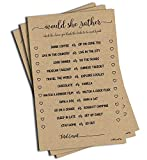 Would She Rather Game - Kraft (50-Sheets) Rustic Bridal Wedding Shower or Bachelorette Party Game,...