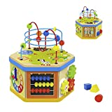 TOP BRIGHT Activity Cube Toys Baby Educational Wooden Bead Maze Shape Sorter 7-in-1 Toys for 1 Year...