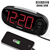 HOUSBAY Digital Alarm Clock with Dual USB Charger, No Frills Simple Settings, Easy Snooze, 6.5' Big...