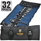32 Pocket Tool Roll Organizer - Wrench Organizer & Tool Pouch - Wrench Roll Includes Pouches for 10...