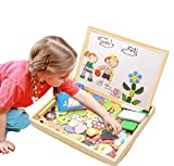 ODDODDY Educational Wooden Toys for Girls Boys Kids Children Toddlers Magnetic Drawing Board Puzzles...