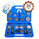 OrionMotorTech 24-Piece Disc Brake Caliper Tool Kit, Front and Rear Brake Piston Compression Tool,...