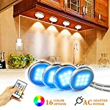 BASON RGB Under Cabinet Lighting, Remote Control LED Puck Lights, Wired Multi Color Changing,...