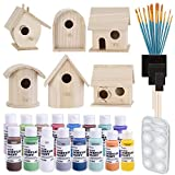 Birdhouse Craft Bundle - 6 Unfinished Wood Birdhouses (5-7 Inches), 16x 2-Ounce Acrylic Paints,...
