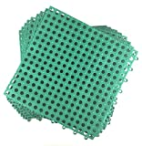 Set of 9 Interlocking Green Rubber Floor Tiles- 11.75 inches Each Side - Wet Areas Like Pool Shower...