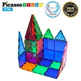 PicassoTiles 60 Piece Set 60pcs Magnet Building Tiles Clear Magnetic 3D Building Blocks Construction...