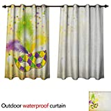 Anshesix Mardi Gras Outdoor Balcony Privacy Curtain Festival Mask with Ornamental Feathers Colorful...