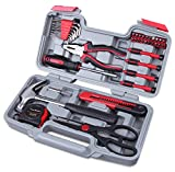 CARTMAN Red 39-Piece Cutting Plier Tool Set - General Household Hand Tool Kit with Plastic Toolbox...