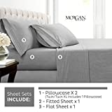 Morgan Home Cotton Rich T-Shirt Soft Heather Jersey Knit Sheet Set - All Season Bed Sheets, Warm and...