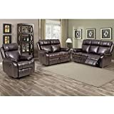 Recliner Sofa PU Leather Sofa Recliner Couch Manual Reclining Sofa Recliner Chair, Love Seat,and...