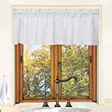Valea Home Waffle Woven Textured Kitchen Valance Curtains Striped Water Repellent Bathroom Window...