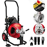 VEVOR Sewer Snake Drill Drain Auger Cleaner 100 Ft Long 3/8'' Wide Electric Drain Cleaning Machine 4...