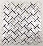 Genuine Natural Mother of Pearl Oyster Herringbone Shell Mosaic Tile with Backing for Kitchen...