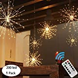 PXB 200LED Hanging Sphere Lights, Battery Operated Starburst Lights, 8 Modes Dimmable Remote...