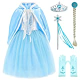 Princess Snow Queen Elsa Costumes Fancy Party Birthday Dress Up for Girls with Accessories 4-5...