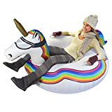 GoFloats Winter Snow Tube - Inflatable Toboggan Sled for Kids and Adults (Choose from Unicorn, Ice...