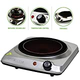 OVENTE Electric Infrared Burner, 7' Single-Plate, 1000W, Ceramic Glass & Stainless Steel, Silver...