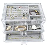 Acrylic Jewelry Box 3 Drawers, Velvet Jewellery Organizer | Earring Rings Necklaces Bracelets...