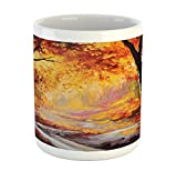 Ambesonne Country Mug, Paint of a Forest with Autumn Color Leaves Fall Time Sadness Season Theme...