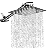 12 Inches Square Rain Showerhead with 11 Inches Adjustable Extension Arm,Large Stainless Steel High...