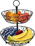 Sorbus 2-Tier Countertop Fruit Basket Holder & Decorative Bowl Stand-Perfect for Fruit, Vegetables,...