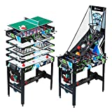 12-in-1 Multi Game Table Set for Adults, Kids, Families - Foosball Tables with 5 Conversion Tops, 4...