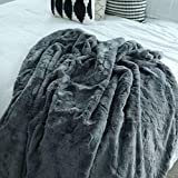 GRACED SOFT LUXURIES Softest Warm Elegant Cozy Faux Fur Home Throw Blanket (Solid Gray, Extra Large...