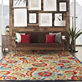 Nourison Aloha Multicolor Indoor/Outdoor Area Rug 7 Feet 10 Inches by 10 Feet 6 Inches, 7'10'X10'6'
