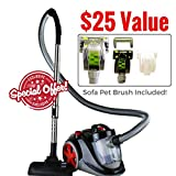 Ovente Bagless Canister Cyclonic Vacuum with HEPA Filter, Comes with Pet/Sofa Brush, Telescopic...