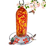 Grateful Gnome - Hummingbird Feeder - Hand Blown Glass - Fiery Bell Tower - 20 Fluid Ounces