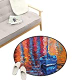 Country Round Rugs for Bedroom ,Pastel Color Paint of Fishing Sail Boat in The Sea Dark Fairy...