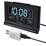 DreamSky Auto Set Digital Alarm Clock with USB Charging Port, 6.6' Large Screen with...