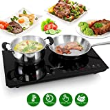 Double Induction Cooktop - Portable 120V Portable Digital Ceramic Dual Burner w/ Kids Safety Lock -...